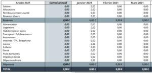budget mensuel prévisionnel - Application Budget