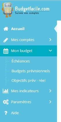 Menu application logiciel budget - Previsionnel echéances
